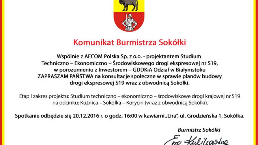 Komunikat Burmistrza Sokółki [ogłoszenie płatne]