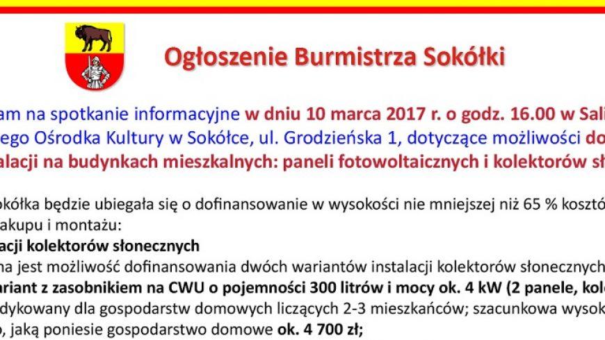Ogłoszenie Burmistrza Sokółki ( ogłoszenie płatne )