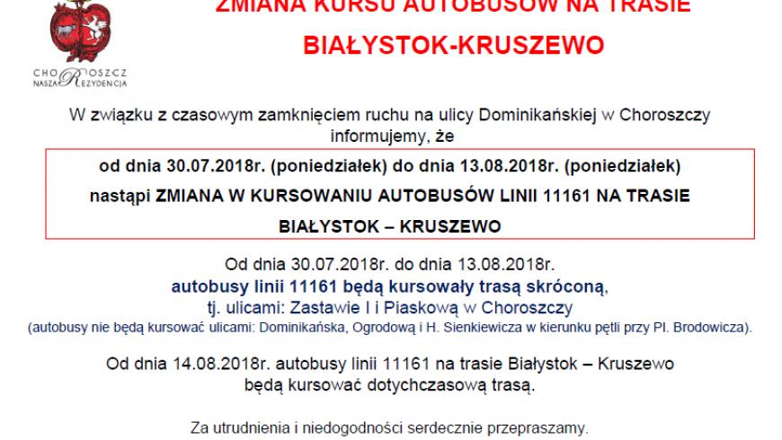 Zmiana w kursowaniu autobusów linii 11161 Białystok – Kruszewo