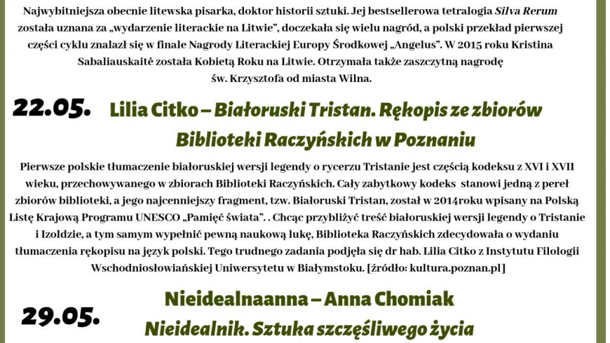 Spotkania autorskie w Książnicy Podlaskiej – maj 2019